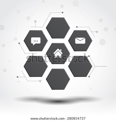 Floating Black Hexagon Pads Tech Concept Design - stock vector