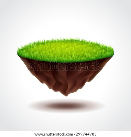 Floating island with green grass photo realistic vector illustration - stock vector