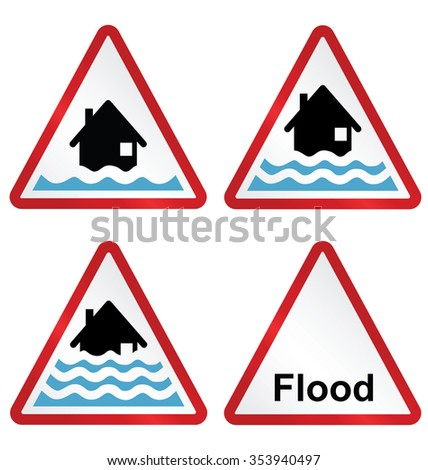 Flood alert flood warning and severe flood warning weather sign collection isolated on white background   - stock vector