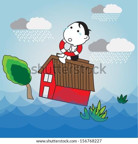 Flood illustration - stock vector