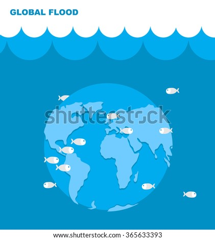 Flooding of planet Earth. World in water. Land under water. Ocean and fish. Lovely planet. Natural disaster. Cataclysm on Earth. Universal deluge. - stock vector