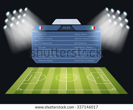 Floodlighting soccer field scoreboard. Spotlight and lighting, sport football game, stadium and championship competition. Vector illustration - stock vector