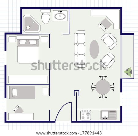floor plan with furniture on the paper - stock vector
