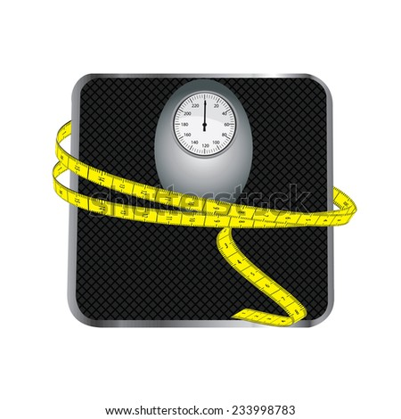 Floor scales with tape measuring vector isolated on white - stock vector