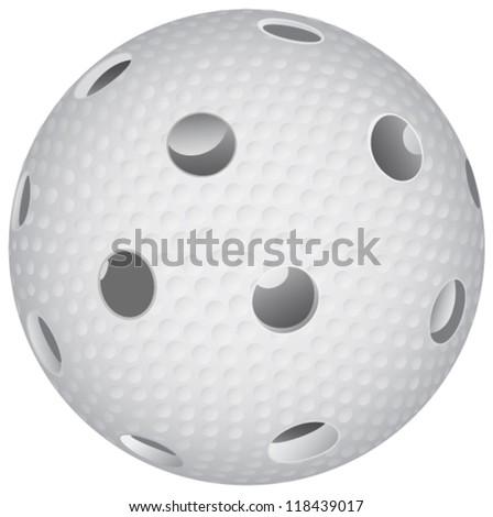 floorball ball on white background - stock vector