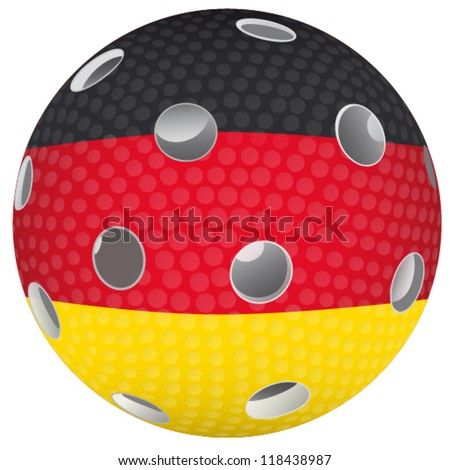 Floorball ball with the flag Germany - stock vector