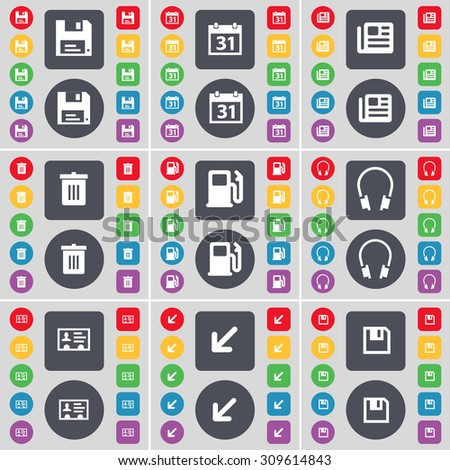 Floppy, Calendar, Newspaper, Trash can, Gas station, Headphones, Contact, Deploying screen, Floppy icon symbol. A large set of flat, colored buttons for your design. Vector illustration - stock vector