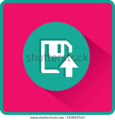 Floppy disk download. Flat modern web button  - stock vector