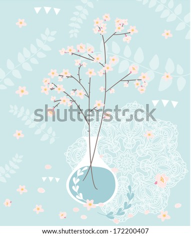 Floral abstract background with cherry blossom. Spring greeting card. - stock vector