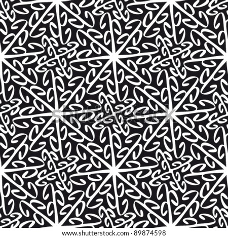 Floral abstract black-white background, seamless repeat pattern - stock vector