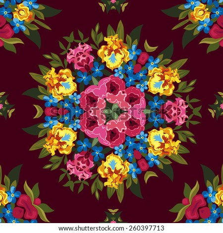 Floral abstract boho or hippie seamless pattern background. Mirror design. Vector illustration. - stock vector