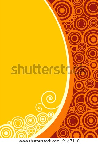 floral abstract designed background in yellow and orange - stock vector