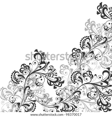 Floral abstract pattern in shades of gray on a transparent background - stock vector