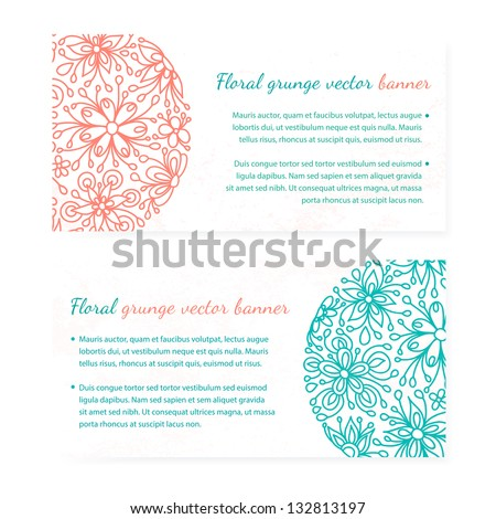 Floral abstract vector banner set. Summer flower business card. Round spring colorful ornament. Cute decoration invitation card and cover - stock vector