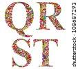 Floral alphabet, vintage letters q r s t. - stock vector