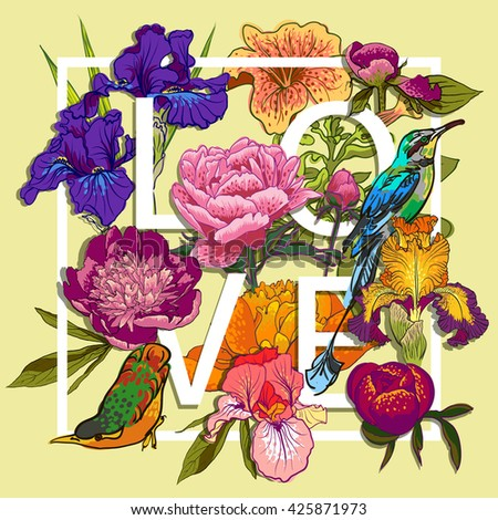 Floral and birds Graphic Design - with Colorful Flowers - for t-shirt, fashion, prints - in vector - stock vector