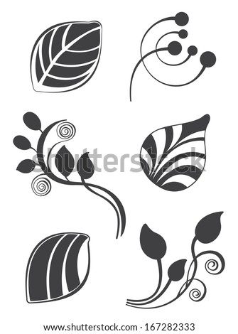 Floral and leaf vector elements in various styles for ornate and decoration - stock vector
