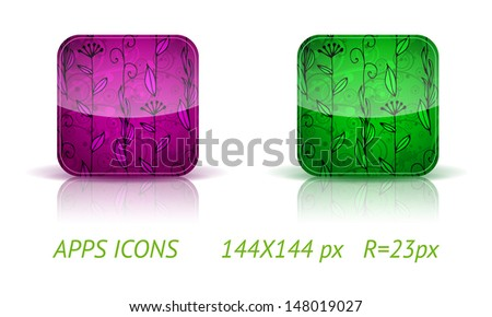 Floral app buttons in color variations on white background with reflections. Vector eps10 - stock vector