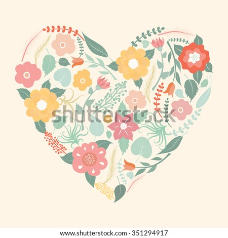 Floral  art heart shape for your design. Floral vector background. - stock vector