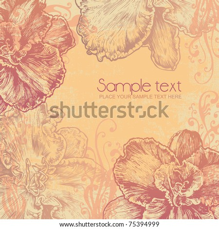 floral background. engraved retro style. vector illustration - stock vector