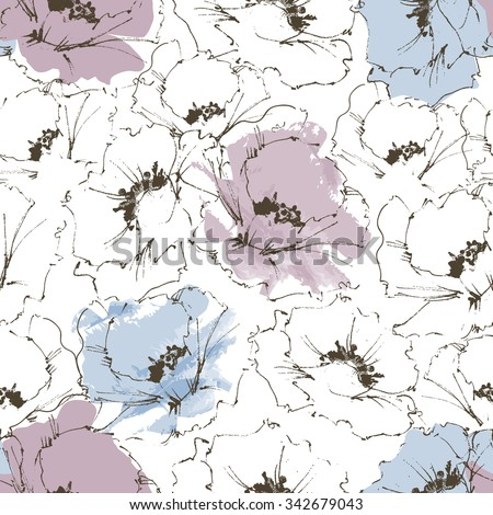 Floral background, flower seamless pattern - stock vector