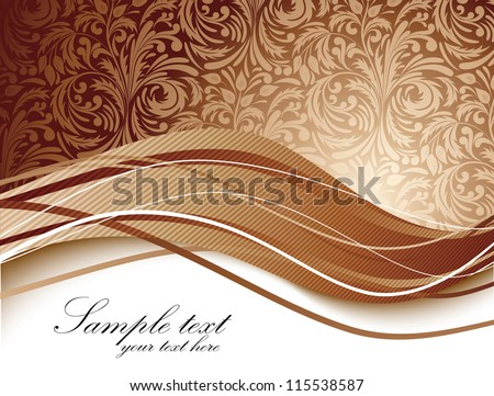 Floral background in brown color - stock vector