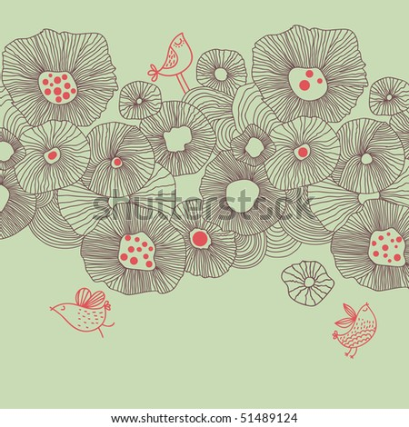 Floral background in summer colors - stock vector