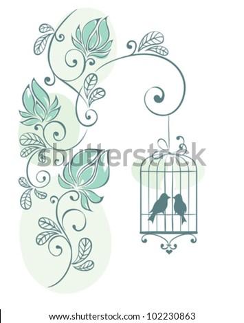 Floral background - love birds - stock vector