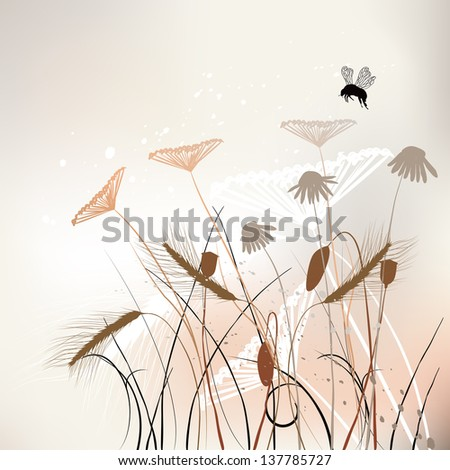 Floral background, meadow in summer time - vector - stock vector
