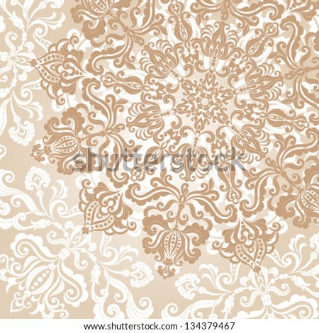Floral background. Ornamental round pattern on vintage style - stock vector