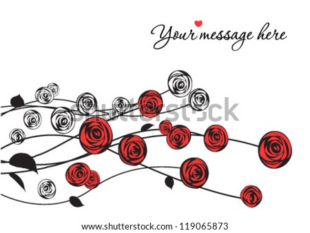 Floral background, red roses. - stock vector