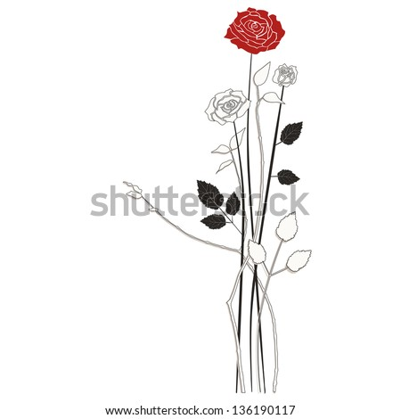 Floral background roses - stock vector