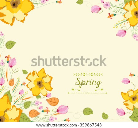 Floral background, spring theme, greeting card - stock vector