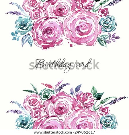 Floral background. Watercolor floral bouquet. Birthday card. Floral decorative frame. - stock vector