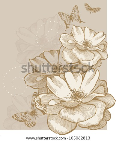 Floral background with butterflies and roses, hand-drawing. Vector. - stock vector