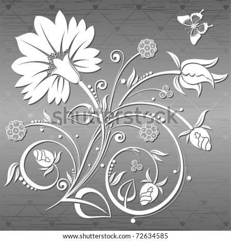 Floral Background with butterfly on a metal plate, element for design, vector illustration - stock vector