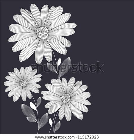Floral background with flower daisy. Element for design. Vector illustration. - stock vector