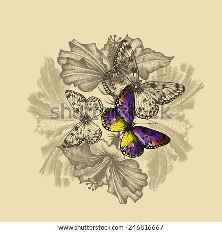 Floral background with flowering hibiscus and butterflies, hand-drawing. Vector illustration. - stock vector