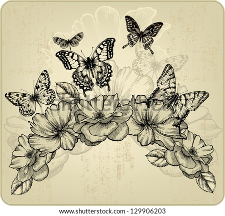 Floral background with flowers and flying butterflies, vector illustration. - stock vector