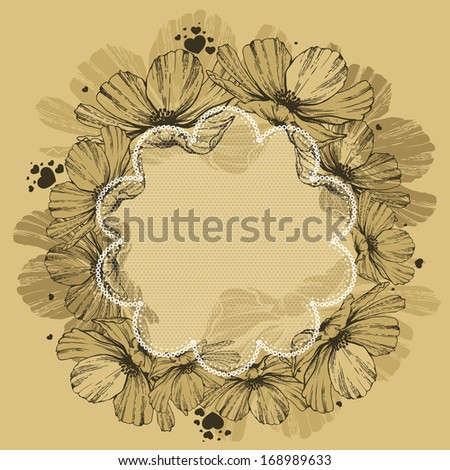 Floral background with lace and hearts. Vector illustration. - stock vector