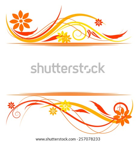 Floral background with orange, yellow flowers and ornaments. vector  - stock vector