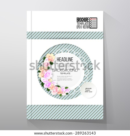 Floral background with place for text and pink flowers over linear blue background. Brochure or flyer vector template. - stock vector