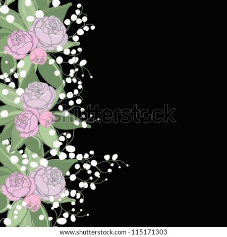 Floral background with roses and lily of the valley - stock vector