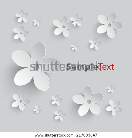 Floral background with three dimensional effect - stock vector