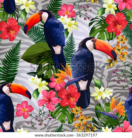 Floral background with tropical flowers and toucan. - stock vector