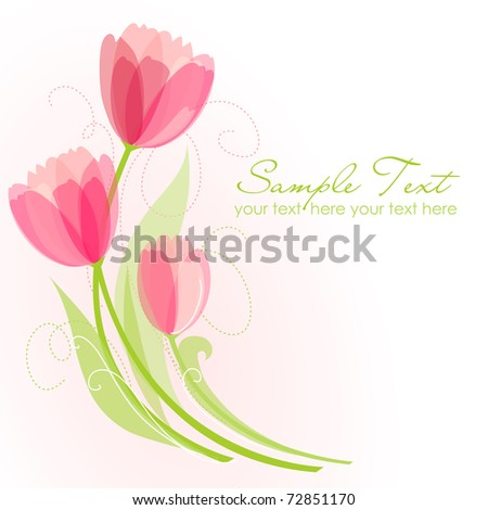 Floral background with tulips - stock vector