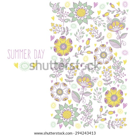 Floral banner in vintage style. bright retro ornament is perfect for the original design of wedding cards, invitation to a party, greeting card. vector - stock vector