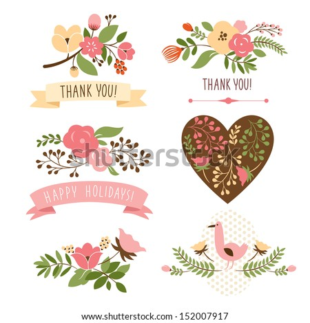 floral banners for life events, vector collection - stock vector