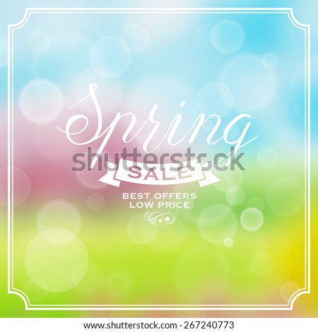 Floral blurred background with spring sale label - stock vector