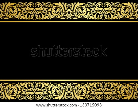 Floral border with gilded elements in retro style for embellishment design. Jpeg (bitmap) version also available in gallery - stock vector